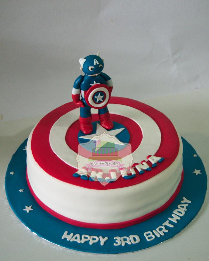 Captain America Cake for Arjuna - Chocolaty Cakes