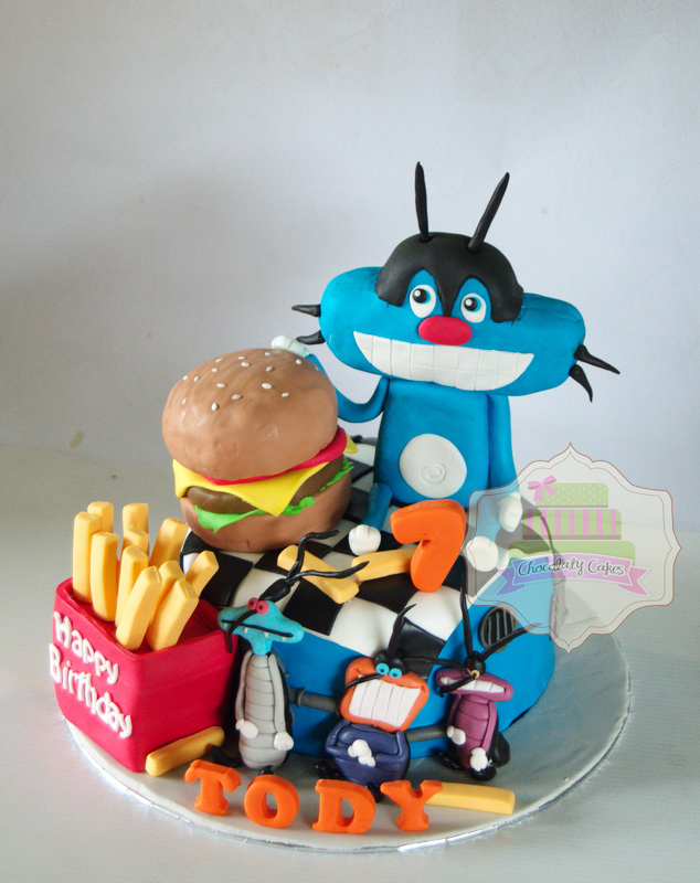 Oggy & Cockcroaches Cake for Tody - Chocolaty Cakes
